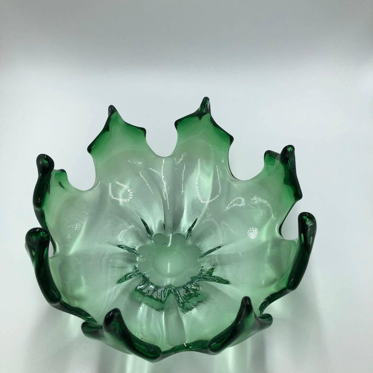 Mid-20th Century 1960s Murano Glass Green Bowl For Sale