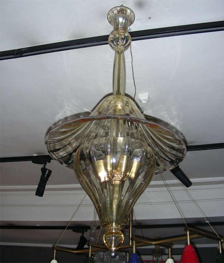 Italian 1960s Murano Glass Lantern by Venini For Sale