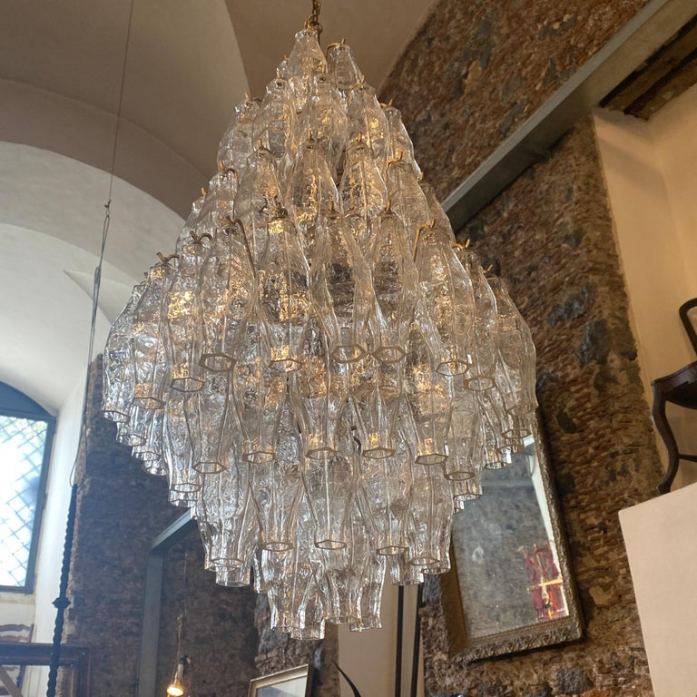 Italian 1960s Murano Glass Poliedri Chandelier in the Manner of Carlo Scarpa