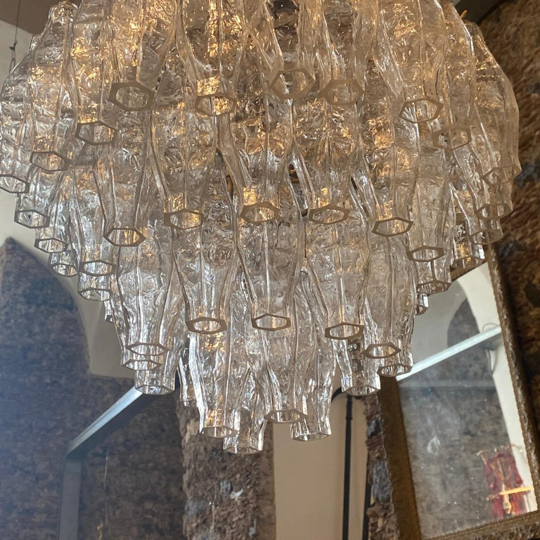 Hand-Crafted 1960s Murano Glass Poliedri Chandelier in the Manner of Carlo Scarpa