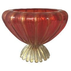 1960s Murano Glass Red Bowl On Pedestal