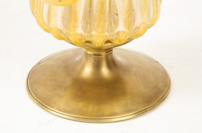 Brass 1960s Murano Glass Table Lamp For Sale
