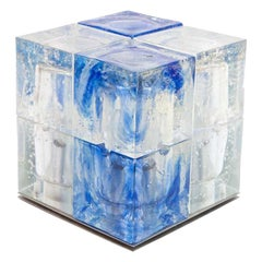 1960s Murano Italian Design by Poliarte Cube Lamp Blue and Frosted Clear Glass