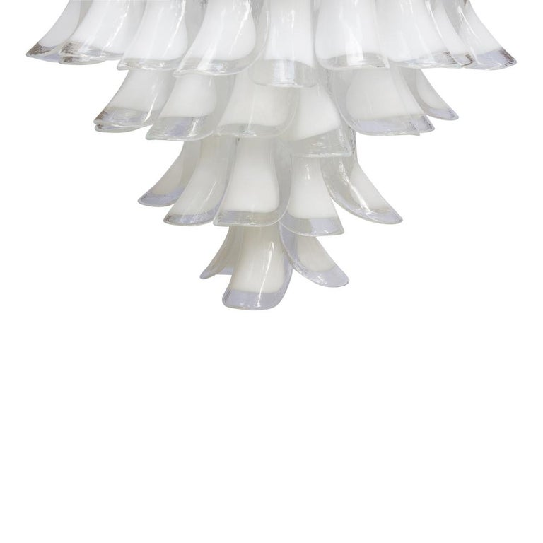 Italian 1960s Murano Italy Blown Glass Ceiling Light, White and Clear Glass Components For Sale