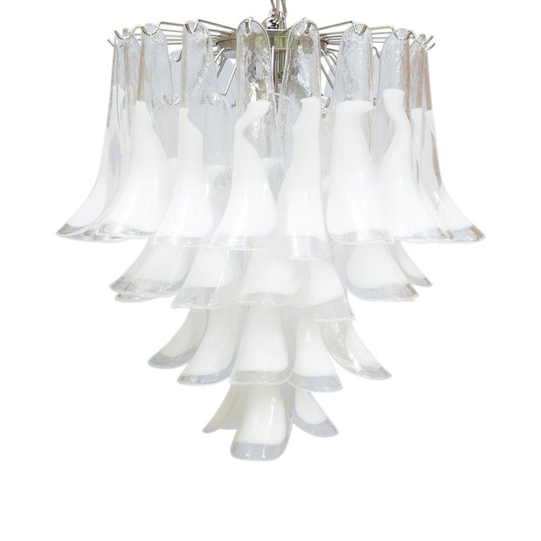 1960s Murano Italy Blown Glass Ceiling Light, White and Clear Glass Components In Good Condition For Sale In London, GB