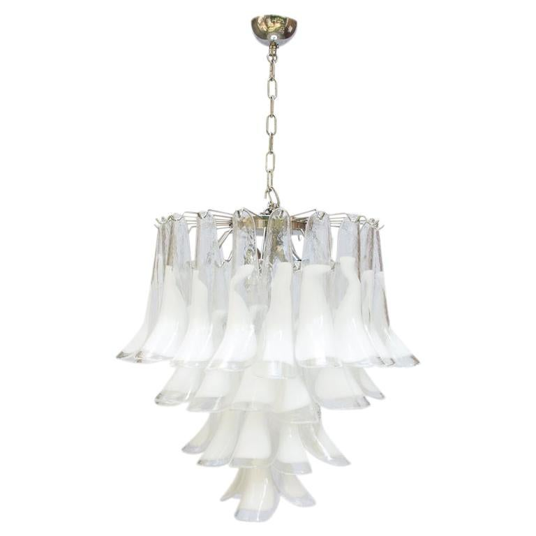 1960s Murano Italy Blown Glass Ceiling Light, White and Clear Glass Components For Sale