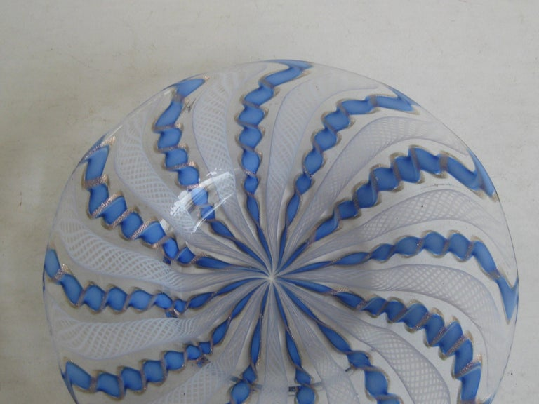 Very nice Murano Venetian art glass ribbon latticino candy dish or bowl. Colors are white, blue and gold flex. In great original condition. No chips, no cracks and no repairs. Measures approx. 5