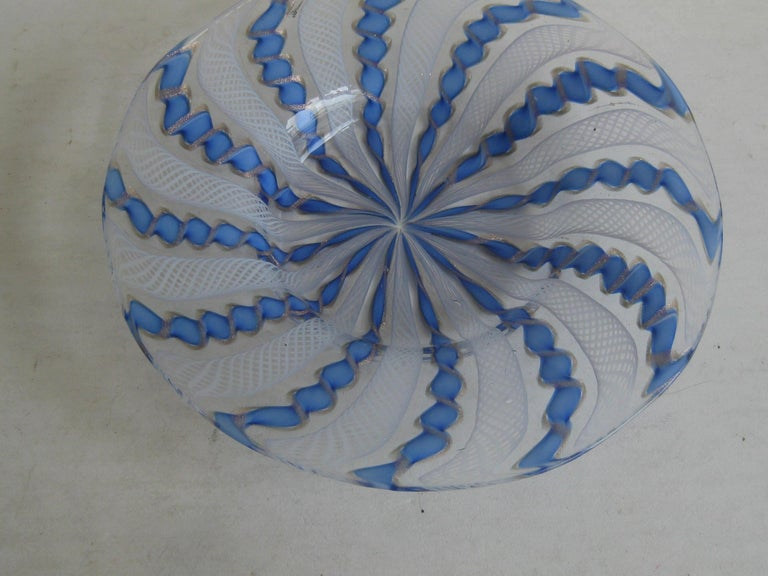 Italian 1960s Murano Venetian Art Glass Ribbon Latticino Candy Dish Bowl with Gold Flex For Sale