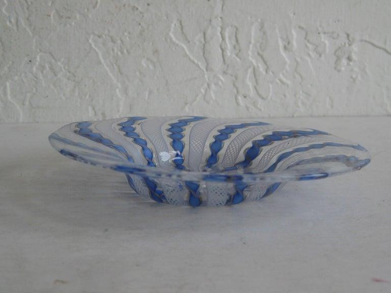 20th Century 1960s Murano Venetian Art Glass Ribbon Latticino Candy Dish Bowl with Gold Flex For Sale