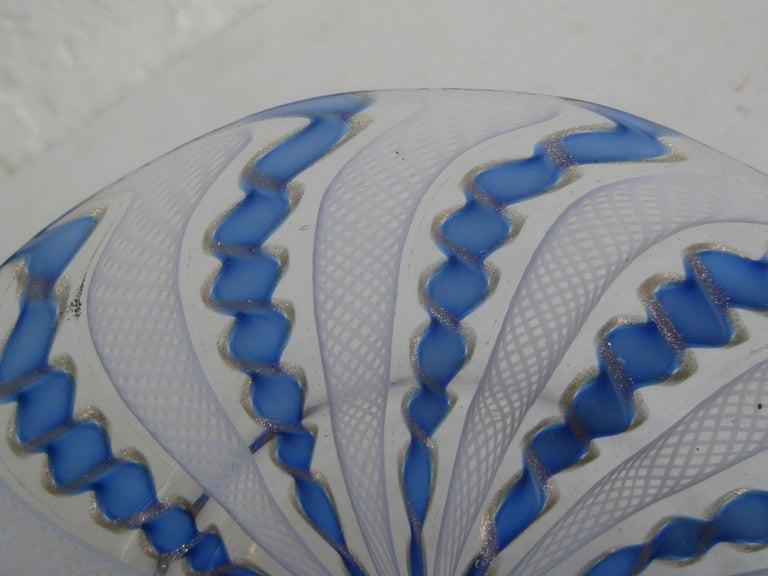 1960s Murano Venetian Art Glass Ribbon Latticino Candy Dish Bowl with Gold Flex For Sale 1