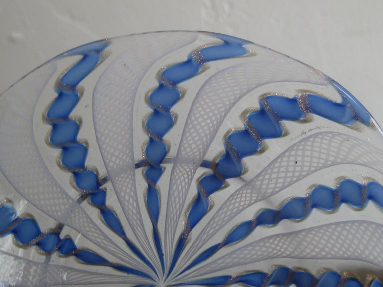 1960s Murano Venetian Art Glass Ribbon Latticino Candy Dish Bowl with Gold Flex For Sale 2