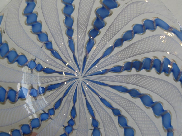 1960s Murano Venetian Art Glass Ribbon Latticino Candy Dish Bowl with Gold Flex For Sale 3