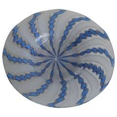1960s Murano Venetian Art Glass Ribbon Latticino Candy Dish Bowl with Gold Flex