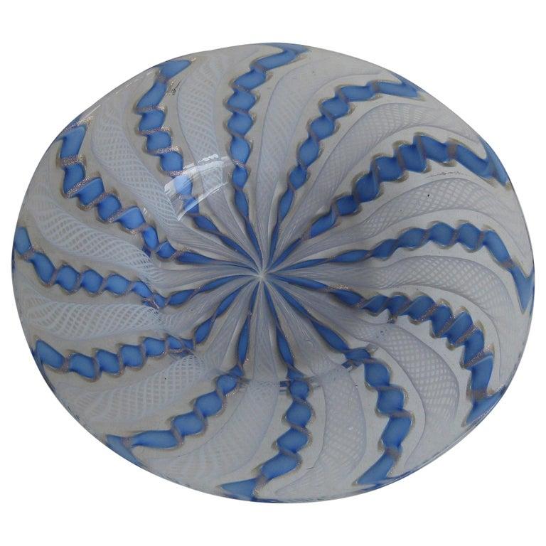 1960s Murano Venetian Art Glass Ribbon Latticino Candy Dish Bowl with Gold Flex For Sale
