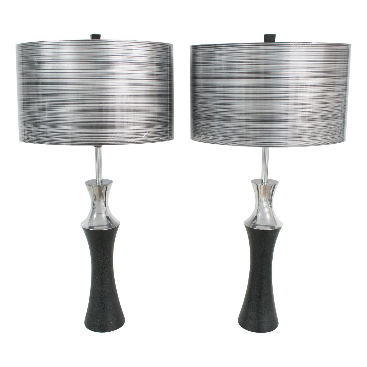 1960s Mutual Sunset Aluminum Table Lamp, a pair