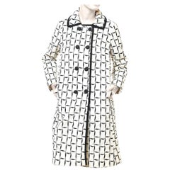 1960S Mysteriously Playful Black And White Balloon Coat