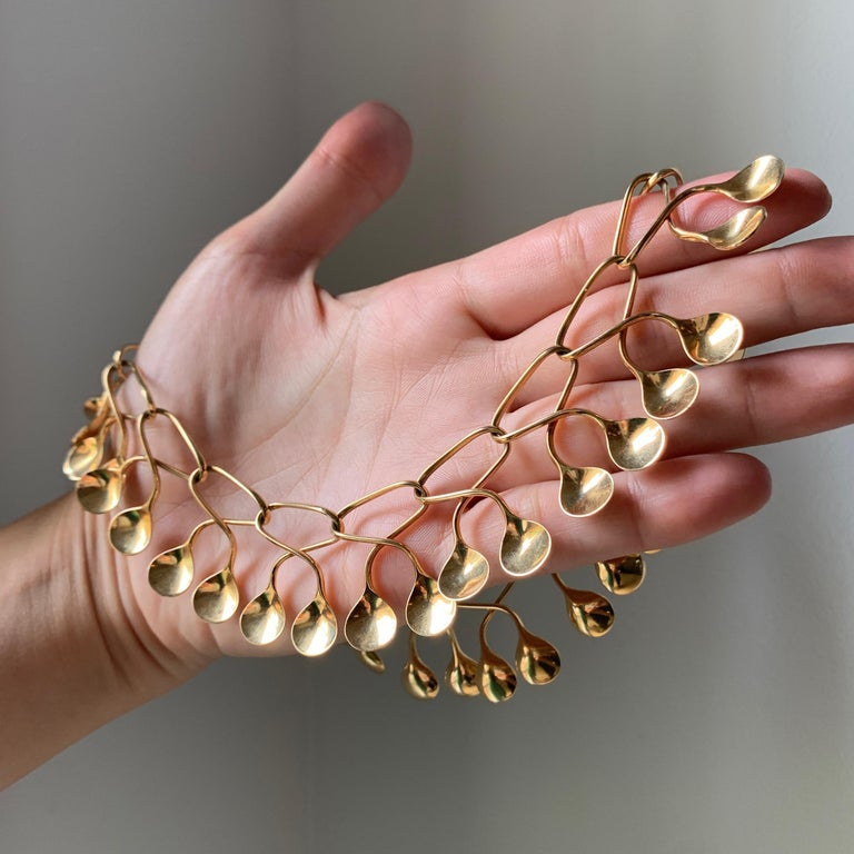 1960s Nanna Ditzel for Georg Jensen Gold Necklace In Excellent Condition For Sale In New York, NY