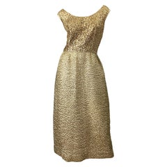 1960s Nat Kaplan Gold Sequin Rhinestone Encrusted Vintage 60s Evening Gown Dress