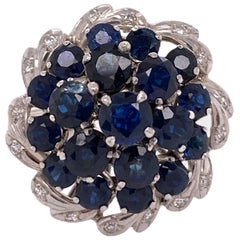 1960s Natural Blue Sapphire Diamond 18 Karat White Gold Dome Ring