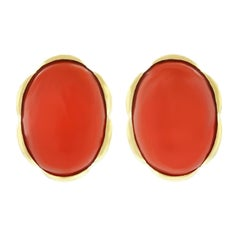 1960s Natural Coral Modernist Gold Earrings