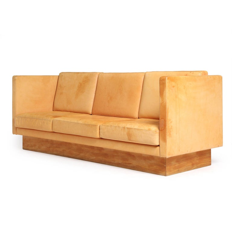 Mid-Century Modern 1960s Natural Leather Three-Seat High Back Sofa Made in France For Sale