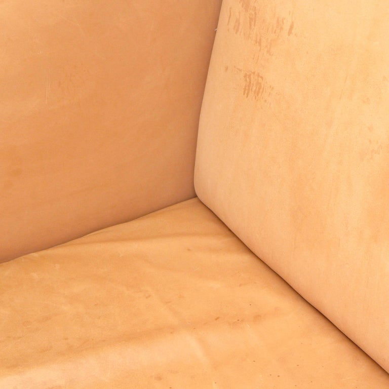 Mid-20th Century 1960s Natural Leather Three-Seat High Back Sofa Made in France For Sale