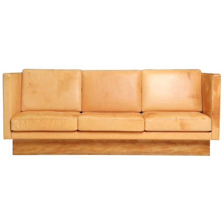 1960s Natural Leather Three-Seat High Back Sofa Made in France For Sale