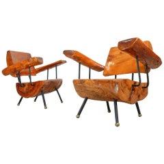 1960's Burl Wood, Iron and Bronze Lounge Chairs