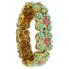 1960s Natural Turquoise & Ruby Bangle /Bracelet in 18 Kt Yellow Gold 72.6 Grams