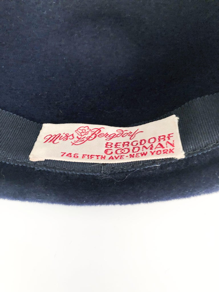 1960s Navy Fur Felt Cloche with Wide Band and Bow For Sale ...