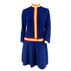 1960s Navy Mod Knit Dress