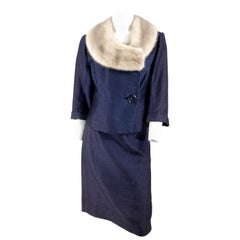 1960s Navy Suit with Silver Mink Collar