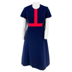 1960s Navy Wool Mad Knit Dress