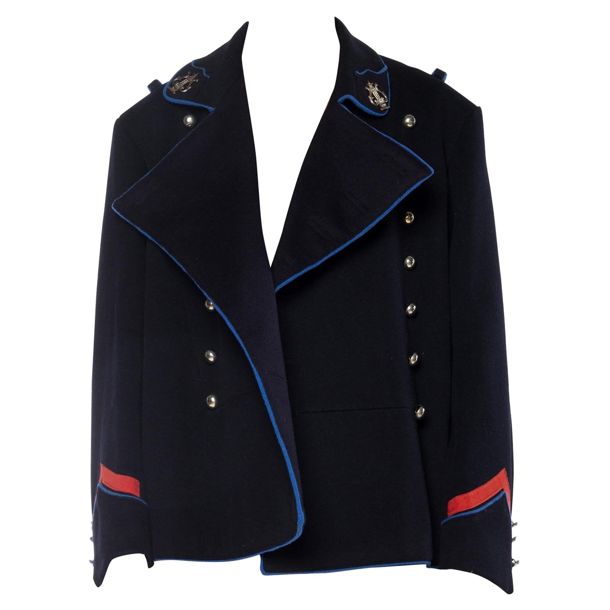 1960S Navy Wool Men's Double Breasted Military Jacket With Silver Buttons