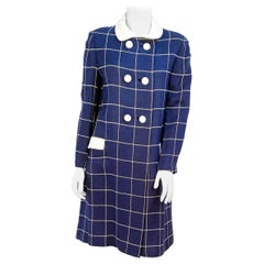 1960s Navy Wool Plaid Coat