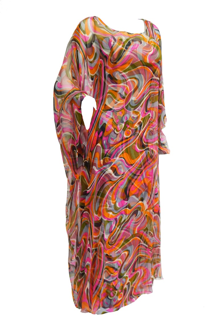 Women's 1960s Neiman Marcus Vibrant Pink Swirl Dress with Sheer Kimono Detail  For Sale
