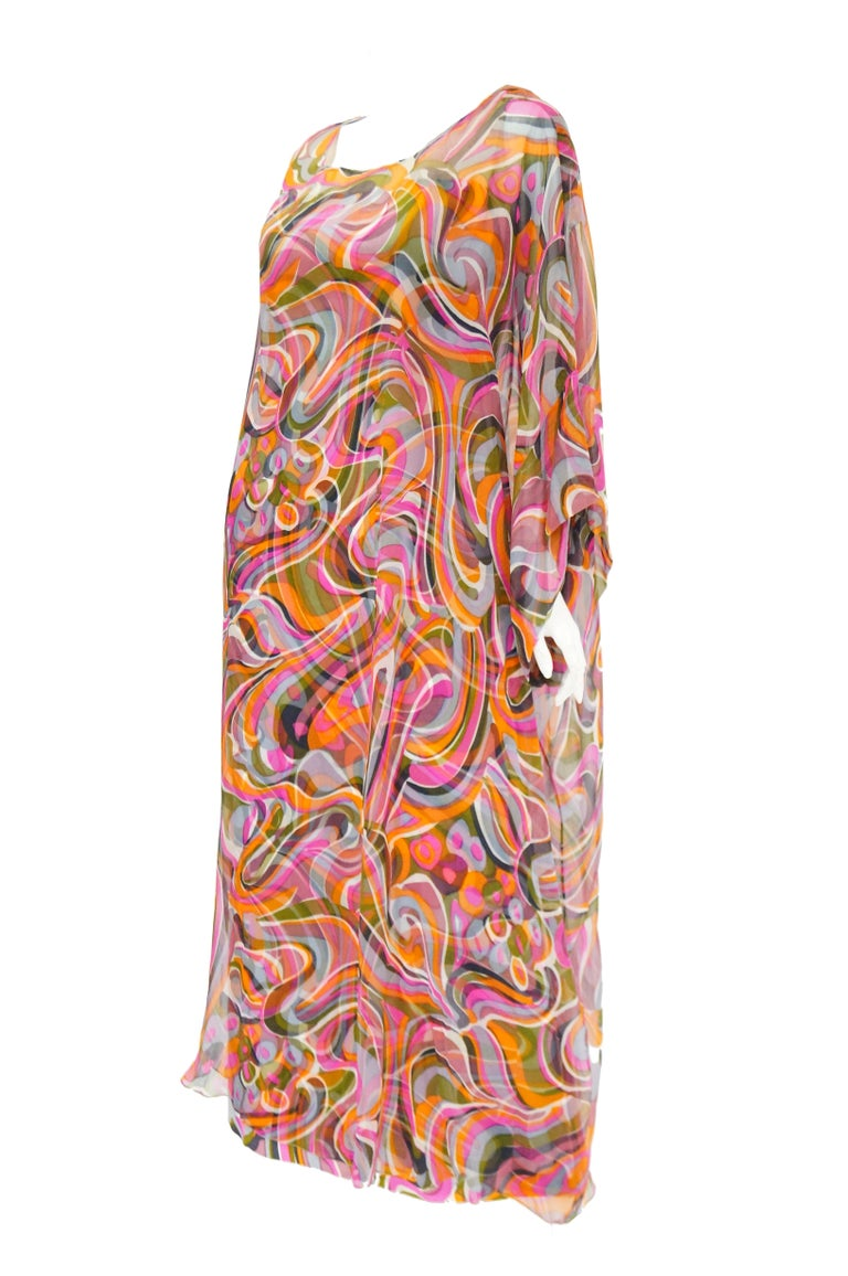 1960s Neiman Marcus Vibrant Pink Swirl Dress with Sheer Kimono Detail  For Sale 1