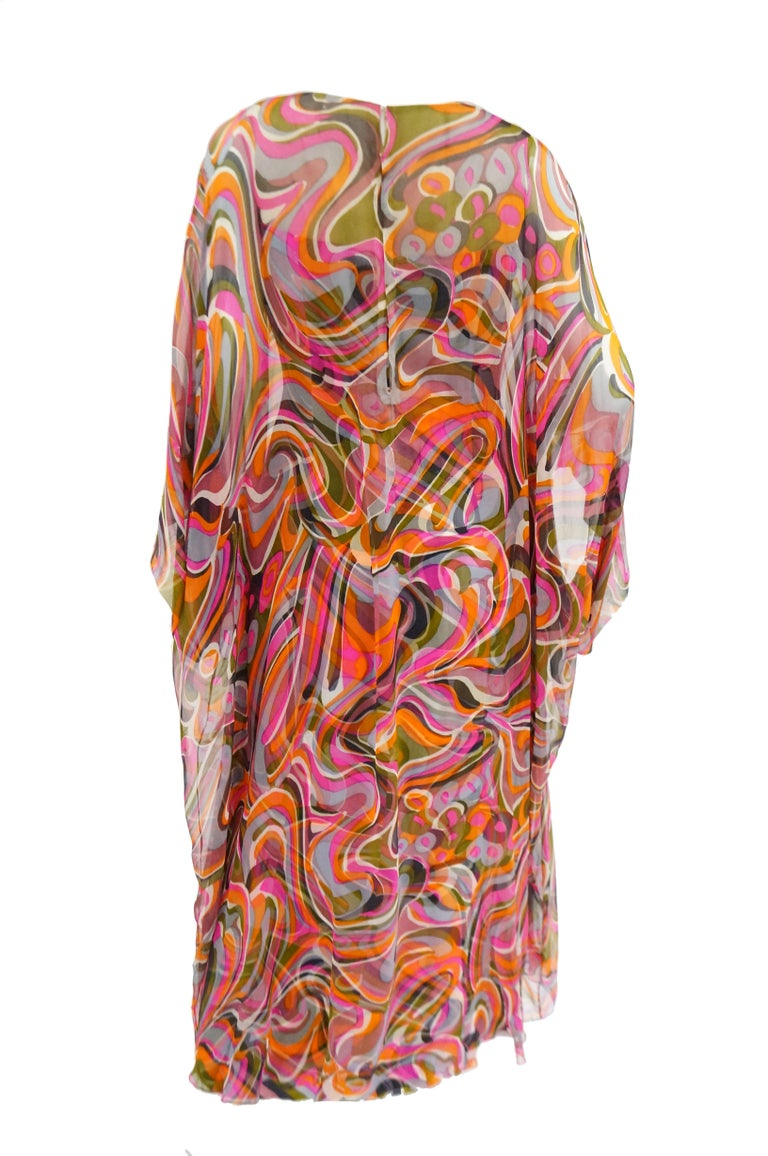 1960s Neiman Marcus Vibrant Pink Swirl Dress with Sheer Kimono Detail  For Sale 2