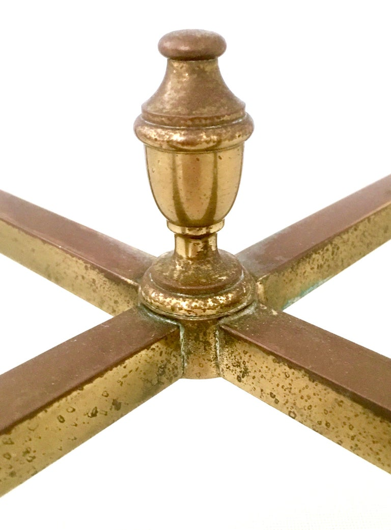 1960s Neoclassical Style Italian Brass and Glass Top