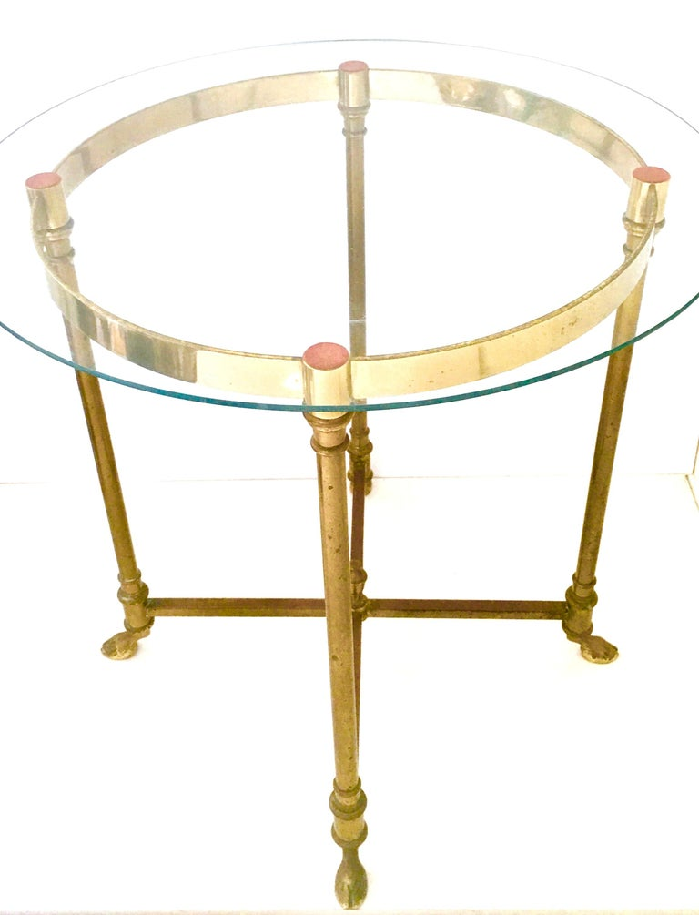 20th Century 1960s Neoclassical Style Italian Brass and Glass Top