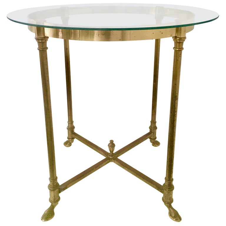 """1960s Neoclassical Style Italian Brass and Glass Top """"Hoof"""" Table For Sale"""