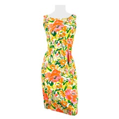 1960s Neon Floral Printed Cotton Day Dress