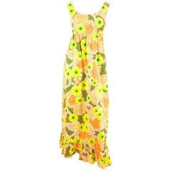 1960s Neon Hawaiian Printed Empire Dress