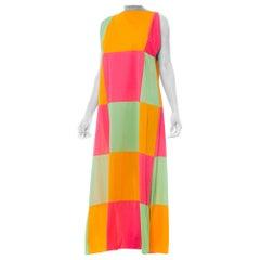 1960S Neon Pastel Colorblock Nylon Jersey Lounge Maxi Dress1960S Neon Pastel Col