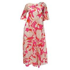 1960s Neon Pink and Orange Floral Hawaiian Kaftan