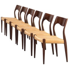 1960s Niels Otto Møller Model 71 Dinner Chairs for J.L. Møller Set of 6