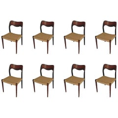 1960s Niels Otto Møller Set of Eight Rosewood Dining Chairs with Paper Cord Seat