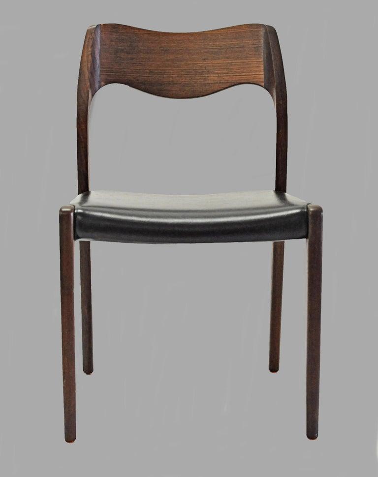 Danish 1960s Niels Otto Møller Twelve Teak Dining Chairs, Inc. Reupholstery