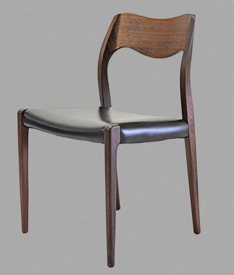 1960s Niels Otto Møller Twelve Teak Dining Chairs, Inc. Reupholstery In Good Condition In Knebel, DK