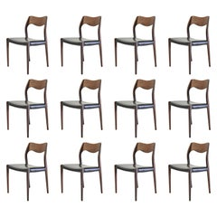 1960s Niels Otto Møller Twelve Teak Dining Chairs, Inc. Reupholstery